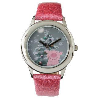 Christmas Pig Glitter Band Watch