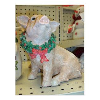 Christmas Pig Postcard
