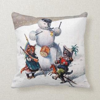Christmas Pillow, Arthur Thiele Cats & Snowman Cushion