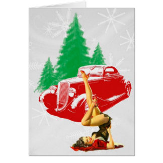 Christmas Pin-Up Girl and Classic Car Greeting Card