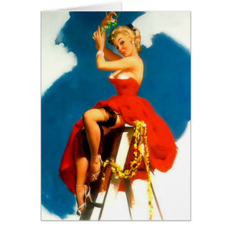 Christmas Pin-Up Girl Missile Toe Card