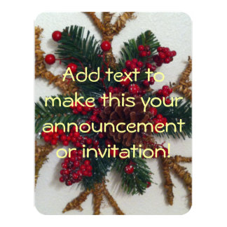 Christmas Pine Cone Decoration 11 Cm X 14 Cm Invitation Card