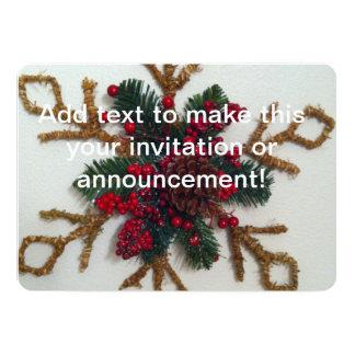 "Christmas Pine Cone Decoration 5"" X 7"" Invitation Card"