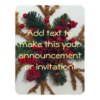 "Christmas Pine Cone Decoration 4.25"" X 5.5"" Invitation Card"