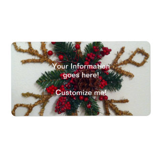 Christmas Pine Cone Decoration Shipping Label