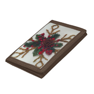 Christmas Pine Cone Decoration Tri-fold Wallets