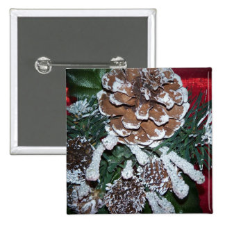 christmas pine cone pinback button