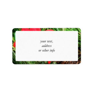 Christmas Pine Cone & Poinsettia Address Label