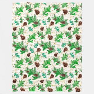 Christmas pine cones fleece blanket