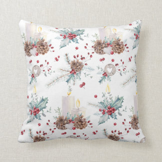 Christmas Pine Cones Holly Berries Candles Cushion