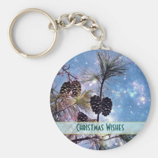 Christmas Pine cones under a starry night sky Keychain