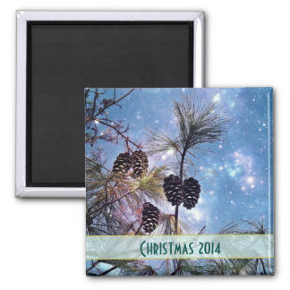 Christmas Pine cones under a starry night sky Fridge Magnet