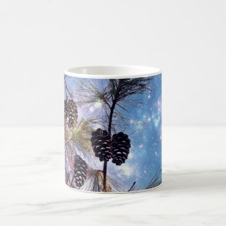 Christmas Pine cones under a starry night sky Mugs