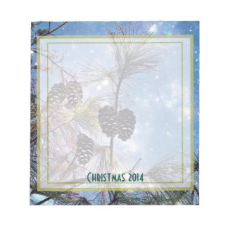 Christmas Pine cones under a starry night sky Note Pads