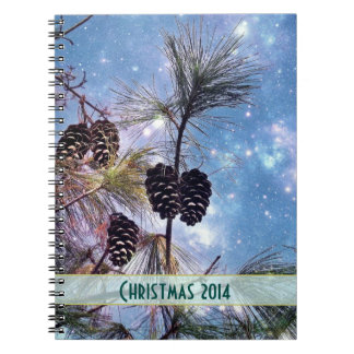Christmas Pine cones under a starry night sky Notebook