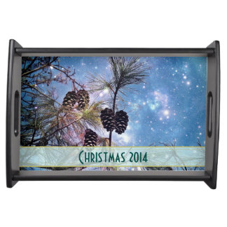 Christmas Pine cones under a starry night sky Serving Platters
