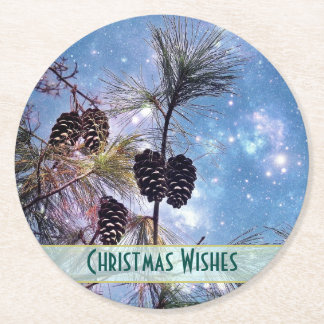 Christmas Pine cones under a starry night sky Round Paper Coaster