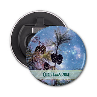 Christmas Pine cones under a starry night sky Button Bottle Opener