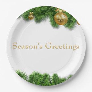 Christmas Pine Garland Gold Christmas Balls Paper Plate