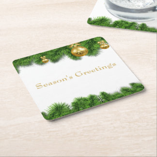 Christmas Pine Garland Gold Christmas Balls Square Paper Coaster
