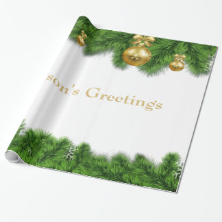 Christmas Pine Garland Gold Christmas Balls Wrapping Paper