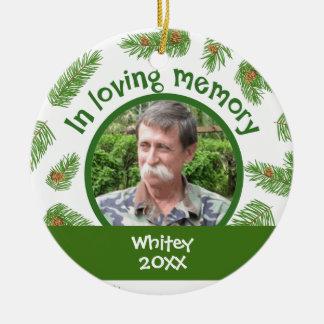 Christmas Pine In Memory Custom Photo Memorial Round Ceramic Decoration