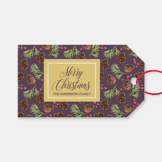 Christmas Pine Needles and Branches Pattern Gift Tags