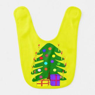 Christmas Pine Tree Yellow Baby Bib