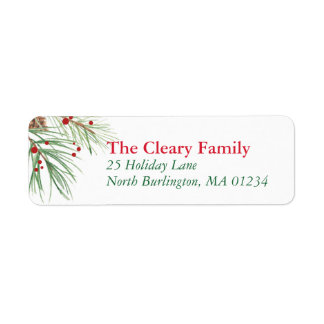 Christmas Pine Watercolor | 2016 Chrismas Return Return Address Label