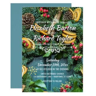 Christmas Pine Wreath Holiday Winter Wedding Card