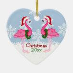 Christmas Pink Flamingo Wearing Santa Hats