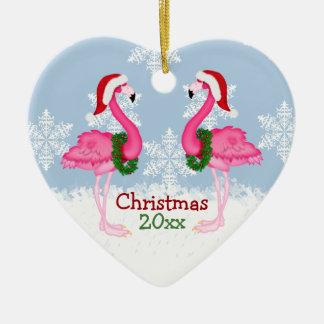 Christmas Pink Flamingo Wearing Santa Hats Ceramic Ornament