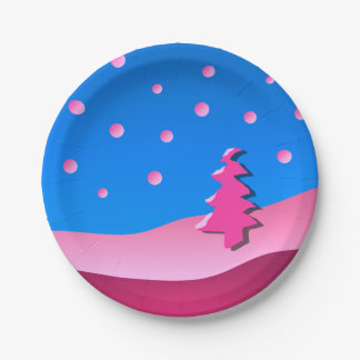 Christmas PINK Tree Paper Plate
