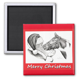 Christmas Pinto Paint Horse and Santa Magnet