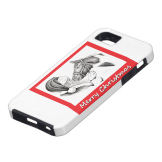 Christmas Pinto Paint Horse and Santa Tough iPhone 5 Case