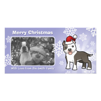 Christmas Pitbull / American Staffordshire Terrier Personalized Photo Card