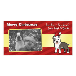 Christmas Pitbull / American Staffordshire Terrier Picture Card