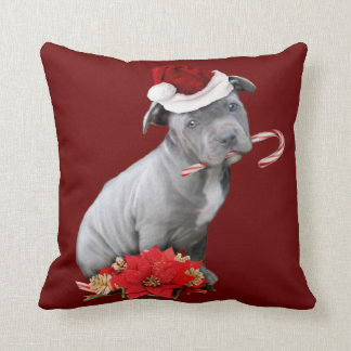 Christmas pitbull puppy cushion
