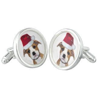 Christmas Pitbull puppy dog cufflinks