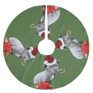 Christmas pitbull puppy tree skirt