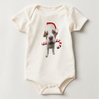 Christmas pitbull - santa pitbull -santa claus dog baby bodysuit