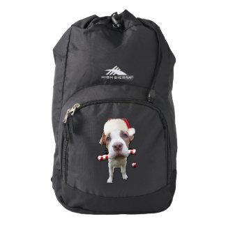 Christmas pitbull - santa pitbull -santa claus dog backpack