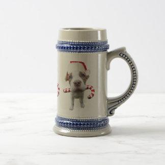 Christmas pitbull - santa pitbull -santa claus dog beer stein