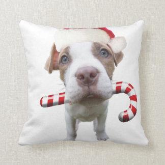 Christmas pitbull - santa pitbull -santa claus dog cushion