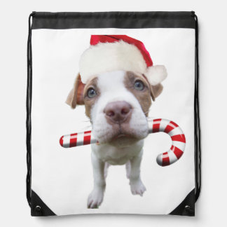 Christmas pitbull - santa pitbull -santa claus dog drawstring bag