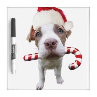 Christmas pitbull - santa pitbull -santa claus dog dry erase board