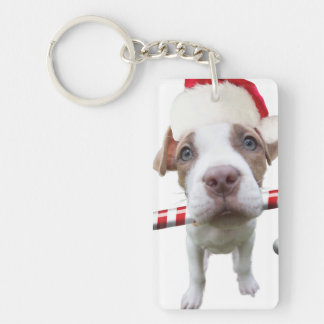 Christmas pitbull - santa pitbull -santa claus dog key ring
