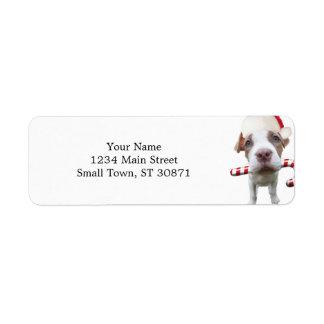Christmas pitbull - santa pitbull -santa claus dog return address label
