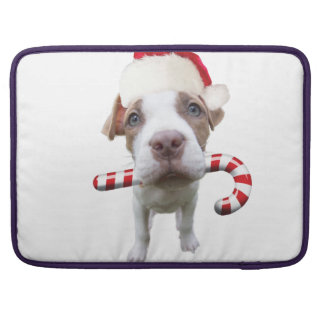 Christmas pitbull - santa pitbull -santa claus dog sleeve for MacBook pro