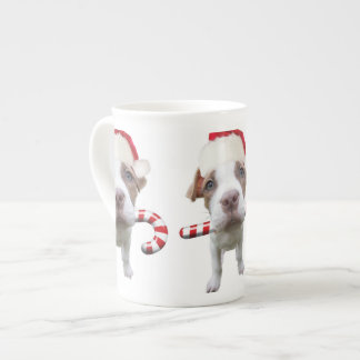 Christmas pitbull - santa pitbull -santa claus dog tea cup